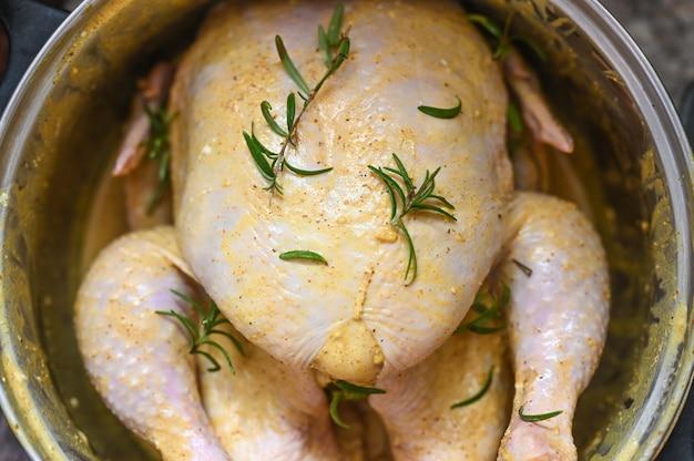 Pickled turkey in a pan. turkey pickle