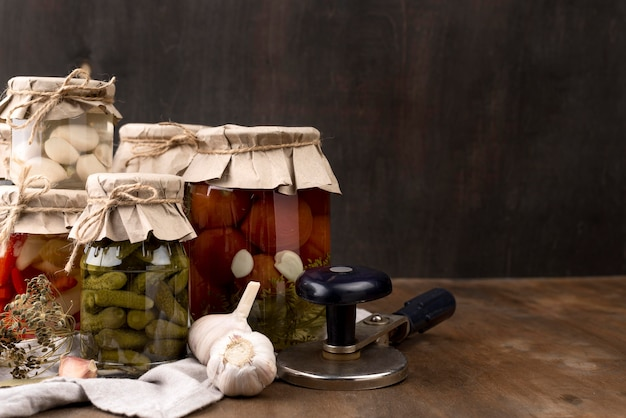 Pickled vegetables in jars arrangement