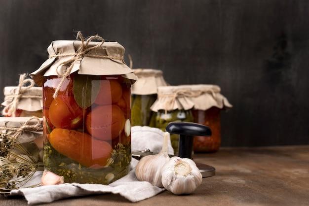 Pickled vegetables in jars assortment
