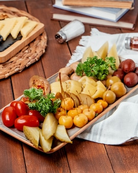 Pickled vegetables on the table