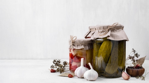 Pickled vegetables with white background