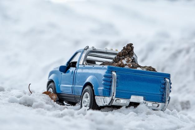 겨울 도로에 눈 더미에서 픽업 트럭 차체 뒤에 전나무 콘을 운반 겨울