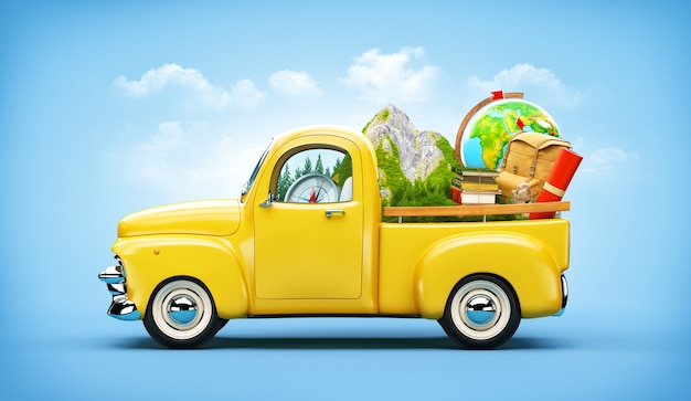 트렁크에 산 및 여행 장비가있는 픽업 트럭