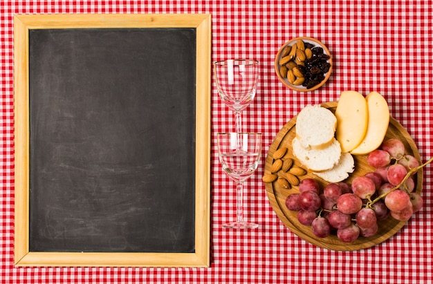 Picnic assortment with blackboard mock-up
