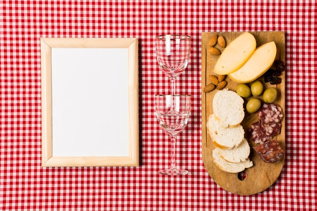 Picnic assortment with wooden frame mock-up