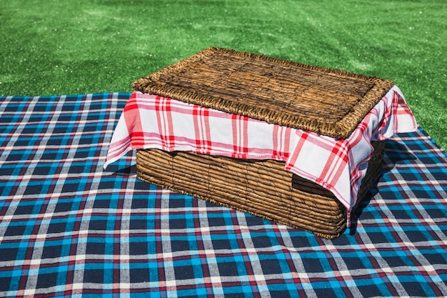 Picnic basket on checkered table cloth over green turf