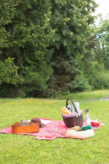 Picnic basket filled with food with personal accessory on blanket over green grass