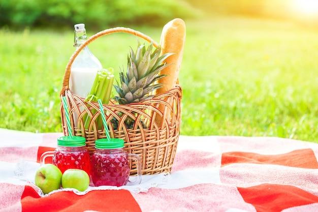 Picnic basket, fruit, juice in small bottles, apples, pineapple summer, rest, plaid, grass copyspace