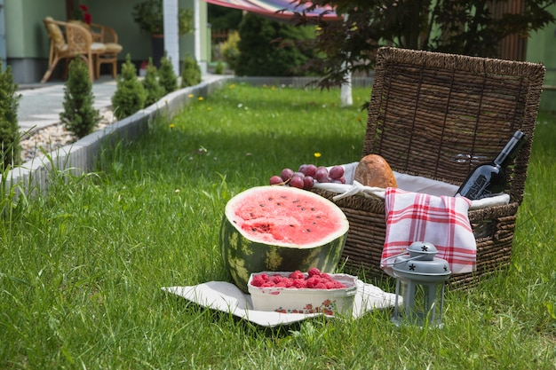 Cestino e frutta di picnic su erba verde