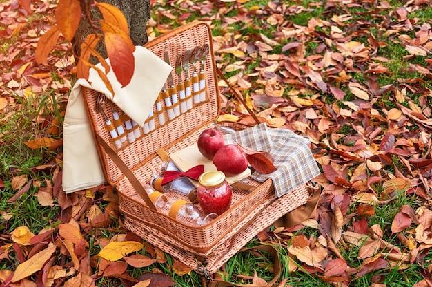 Корзина для пикника в осеннем парке