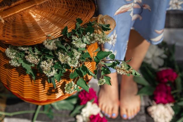 Picnic basket plaid white meadow flowers peony in wicker basketyoung beautiful woman legs