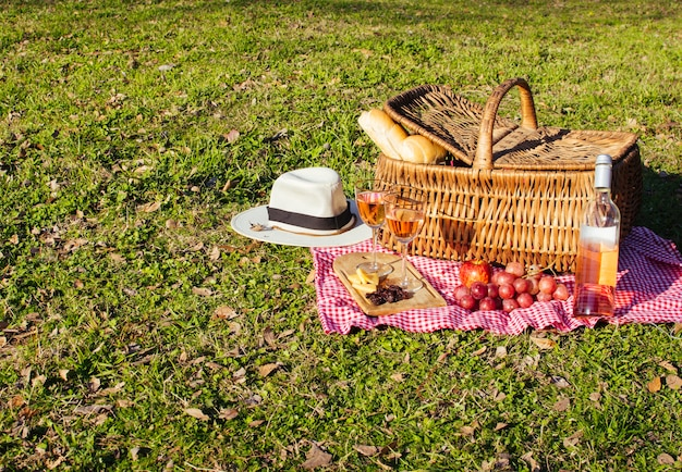 Picnic basket with goodies and wine