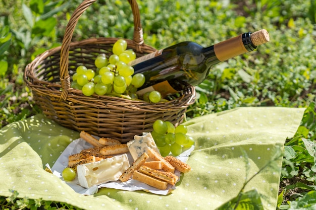 Picnic basket with wine, cheese and grapes