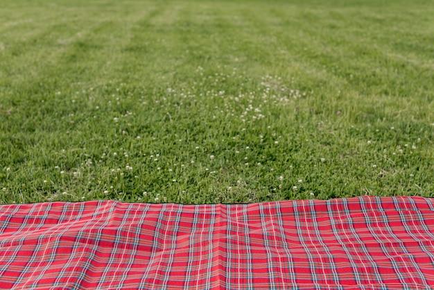 Picnic blanket on park grass