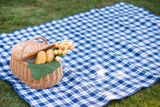 Picnic blanket with a basket on grass