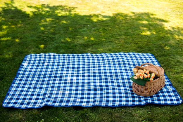 Picnic blanket with a basket high angle