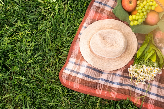 Picnic blanket with fruits and hat