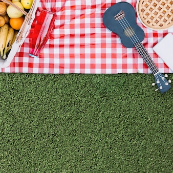 Picnic composition with copyspace