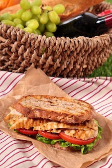 Пикник день с бутерброда цыпленка