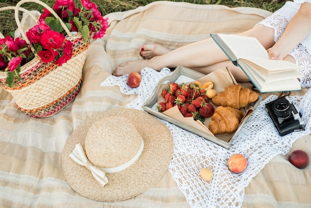 Picnic on the field in the village. hat, retro camera. fresh fruits and natural flowers in a basket. outdoors, relaxing on holiday