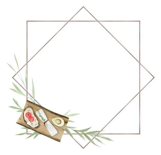 Picnic frame, green leaves and branches, watercolor design elements, hand drawn illustration