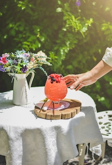 庭でのピクニック