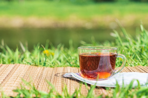 Picnic in the lap of nature. a mug of tea on a sunny warm day.