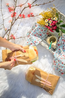 Picnic lunch in the park. sandwiches, apples and flowers.