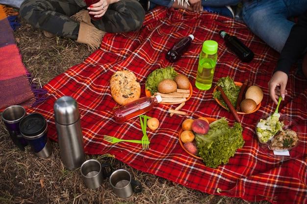 ピクニック自然時間おいしい食べ物飲み物のコンセプト。ハイキングを計画する方法。