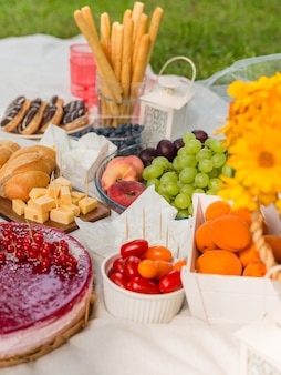 Picnic at the park on the grass: tablecloth, basket, food and accessories, top view