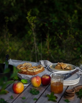 Picnic in the park with homemade apple pie