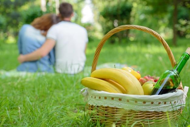 Picnic. romantic happy couple in meadows nature sunny day
