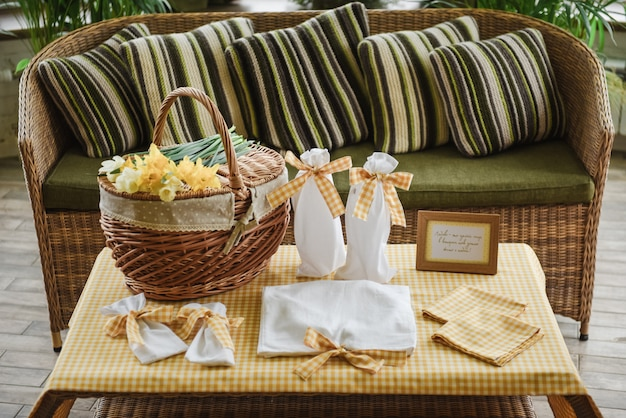 Picnic set. romantic date. family weekend. a frame for text or photo. covers for bottles.