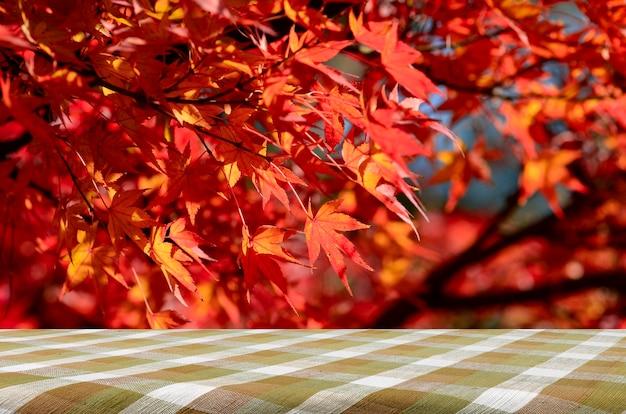秋の完全に赤い日本のカエデの木の庭のあるピクニックテーブル