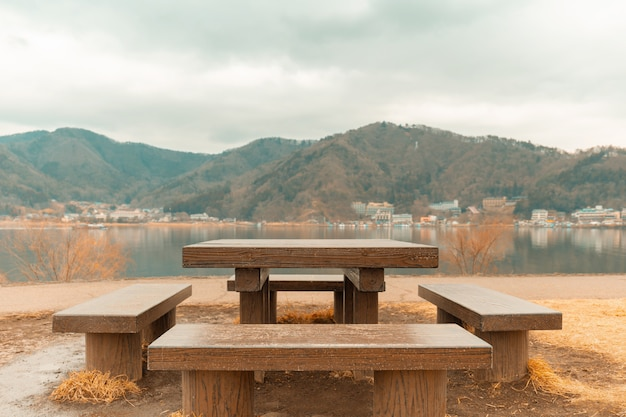 Picnic table with gorgeous view at kawaguchiko lake japan