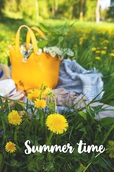 Picnic time in nature - bag, baguette, board, hat, summer time sign