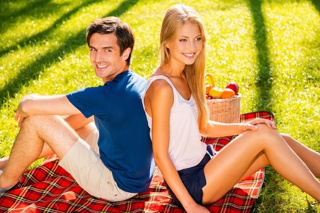 피크닉 시간. 등을 맞대고 웃고 있는 동안 잔디에서 피크닉을 하는 행복한 젊은 사랑의 커플의 상위 뷰