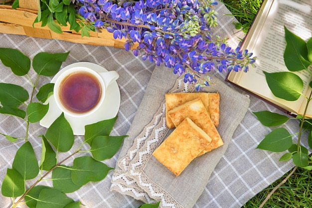 Picnic with tea baking book on a plaid in a park on a green grass travel holiday concept