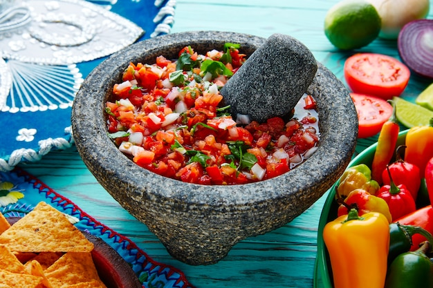 Pico de gallo sauce from mexico in molcajete