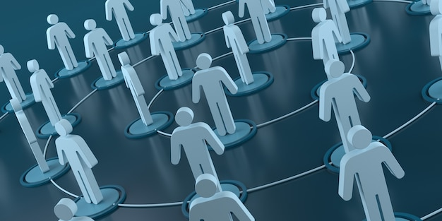 Pictogram people network connections. 3d rendering