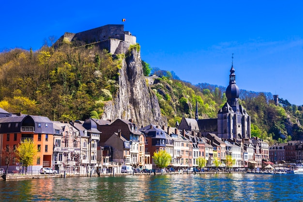 Pictorial dinant over river meuse in belgium