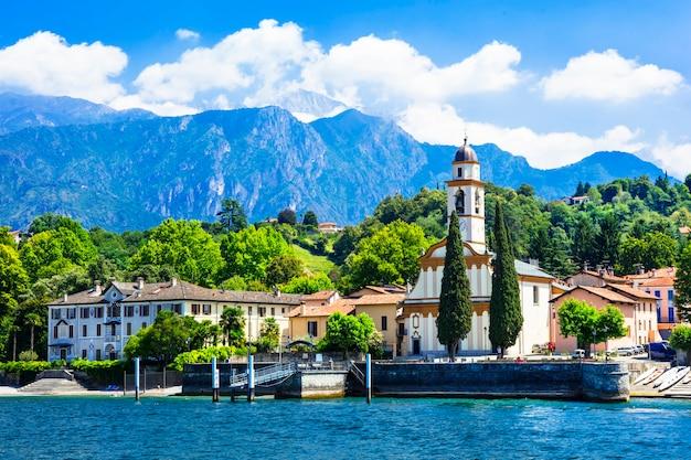 Живописные пейзажи красивого озера лаго ди комо, италия