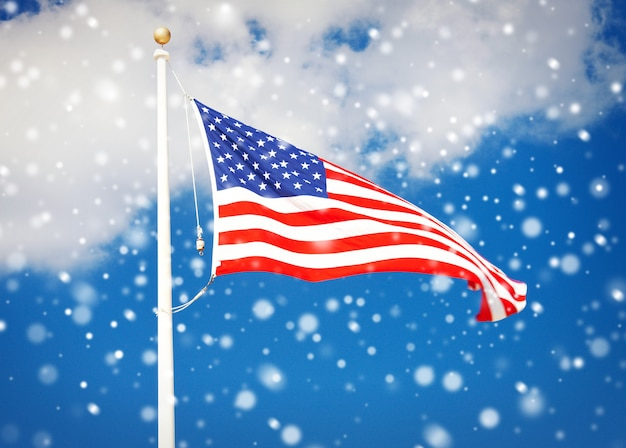 Picture of the american flag flying in the wind