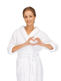 Picture of beatiful woman with heart shaped hands
