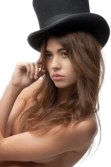 Picture of beautiful topless woman in top hat