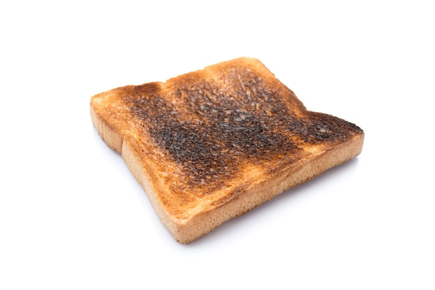 Picture of burned bread  isolated on a white