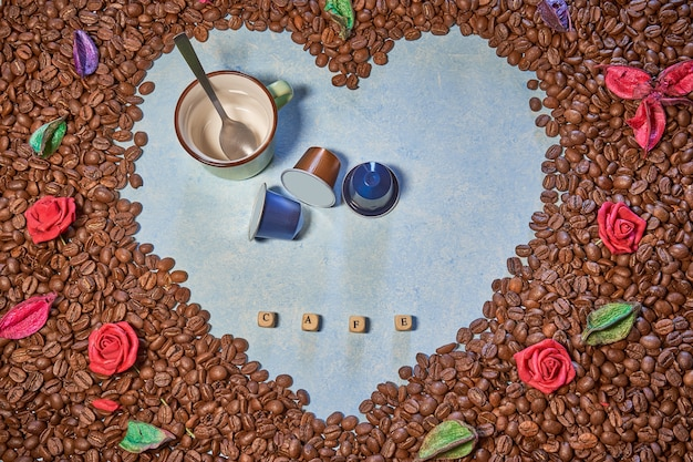 Picture of a coffee heart and flowers smell