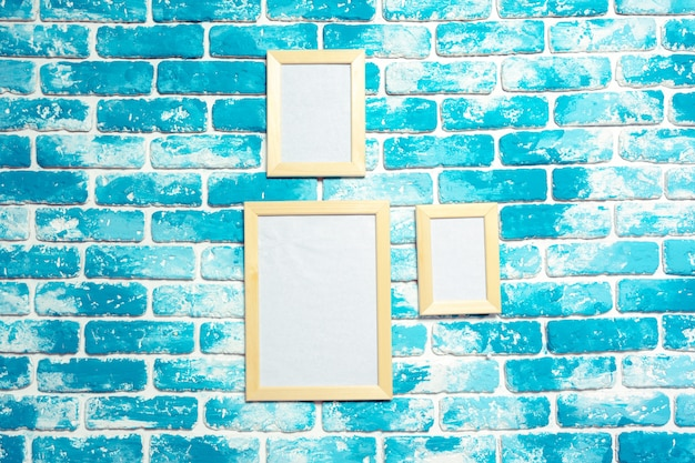 Picture frame on brick wall