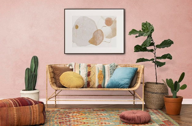 Picture frame hanging on the wall bohemian interior design