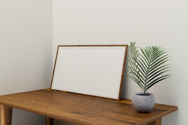 Рамка для картины в комнате в минималистском стиле, четкая комната, рендеринг 3d иллюстраций